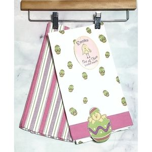 Retro style Kitchen Easter Embroidered Towel Set